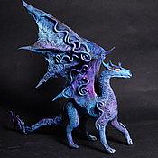 Куклы и игрушки ручной работы. Ярмарка Мастеров - ручная работа Синий  дракон  фигурка дракончик синий. Handmade.