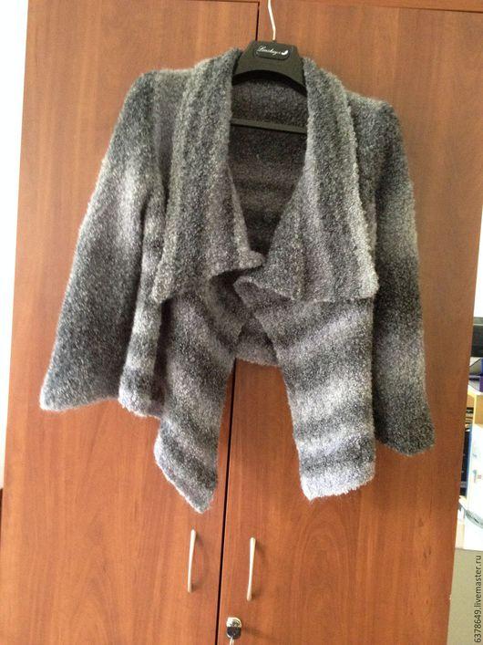 Пиджаки, жакеты ручной работы. Ярмарка Мастеров - ручная работа. Купить Жакет с широкими полочками. Handmade. Серый, lana grossa