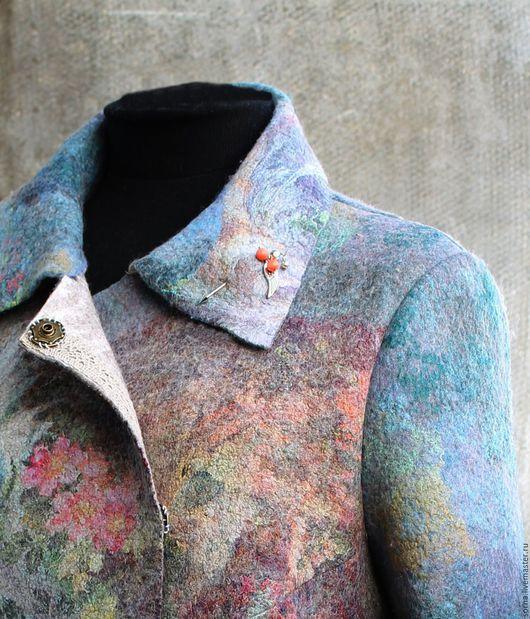 Верхняя одежда ручной работы. Ярмарка Мастеров - ручная работа. Купить Куртка  валяная женская  Райский сад. Handmade. Голубой