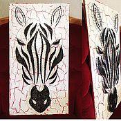 """Картины и панно ручной работы. Ярмарка Мастеров - ручная работа Декоративное панно в стиле string art """"зебра"""". Handmade."""