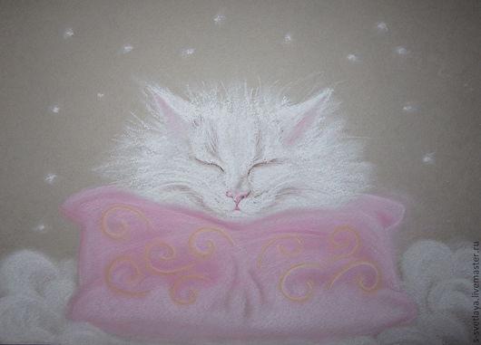 Животные ручной работы. Ярмарка Мастеров - ручная работа. Купить Снежные сны. Handmade. Кот, Снег, пастель, пушистый, пастель