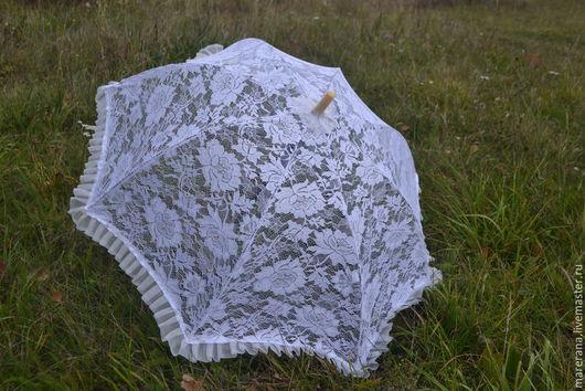 """Зонты ручной работы. Ярмарка Мастеров - ручная работа. Купить Зонт кружевной """" Счастливое мгновение"""". Handmade. Белый, невеста"""
