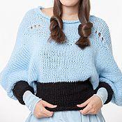Одежда ручной работы. Ярмарка Мастеров - ручная работа BB_001 Свитер, цвет  голубой с черным. Handmade.