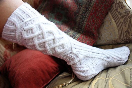 Носки, Чулки ручной работы. Ярмарка Мастеров - ручная работа. Купить Эовин. Handmade. Носки ручной работы, белый, однотонный
