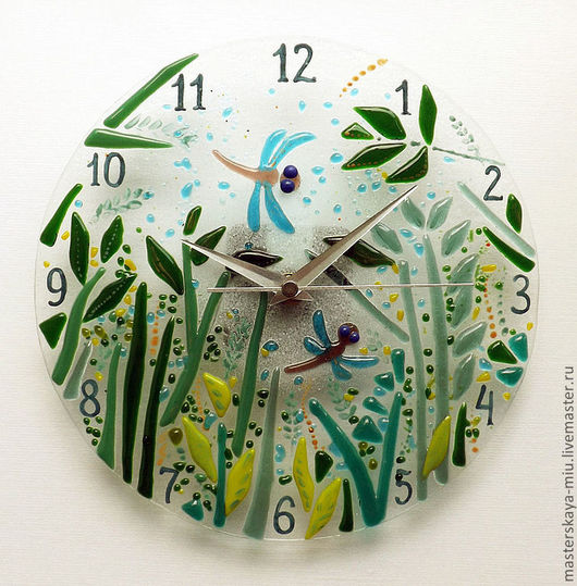 """Часы для дома ручной работы. Ярмарка Мастеров - ручная работа. Купить Часы """"Тайный пруд"""". Handmade. Стрекозы, травы, солнце"""
