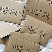 Подарочные конверты ручной работы. Ярмарка Мастеров - ручная работа Крафтовый конверт - крафт конверт - конверты из крафтбумаги. Handmade.