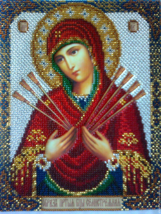 """Иконы ручной работы. Ярмарка Мастеров - ручная работа. Купить Икона""""  Богородица Семистрельная"""". Handmade. Комбинированный, богородица, икона в подарок"""