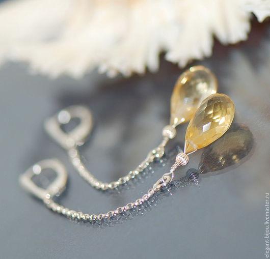 серьги с цитрином; серебряные серьги с цитрином; купить серьги с цитрином; цитрин в серебре; подарок для любимой; подарок для жены; подарок жене; подарок любимой; купить серебряные серьги