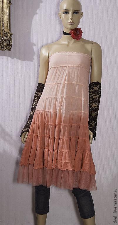 Платья ручной работы. Ярмарка Мастеров - ручная работа. Купить Платье,  юбка,  туника бохо пинк...42 44, лето, три в одном. Handmade.