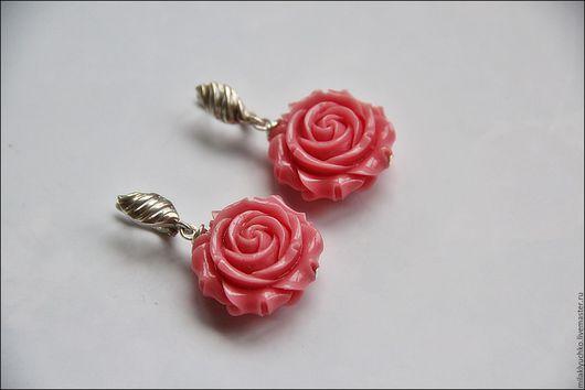 """Серьги ручной работы. Ярмарка Мастеров - ручная работа. Купить Серьги """"Роза"""" коралл, серебро. Handmade. Коралловый, серьги с цветами"""