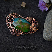 Украшения handmade. Livemaster - original item Copper Island brooch with jewelry resin and wood insert. Handmade.