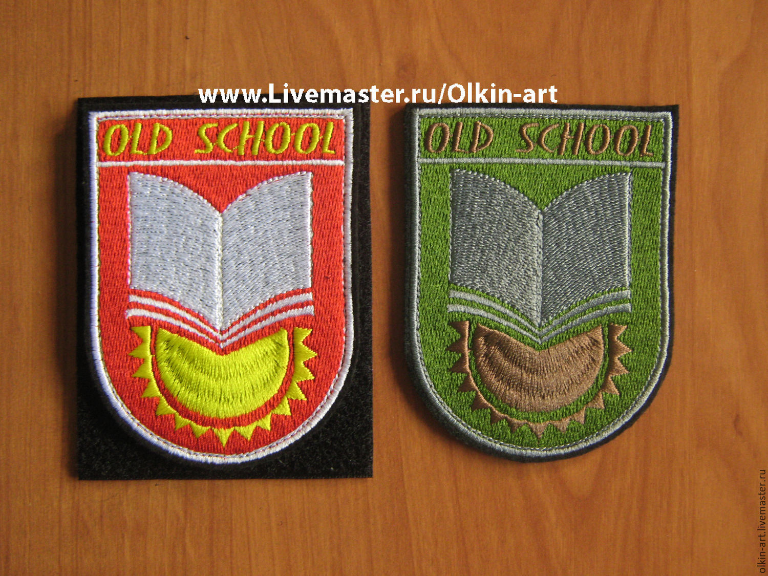 Stripe `OLD SCOOL` (red / field) Machine embroidery. Beloretskiy stripe. Patch. Chevron. Patch. Embroidery. Chevrons. Patches. Stripe. Buy patch.