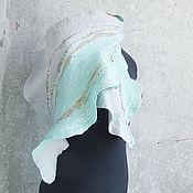 """Аксессуары ручной работы. Ярмарка Мастеров - ручная работа Войлочный шарф """"Мятная серость"""". Handmade."""
