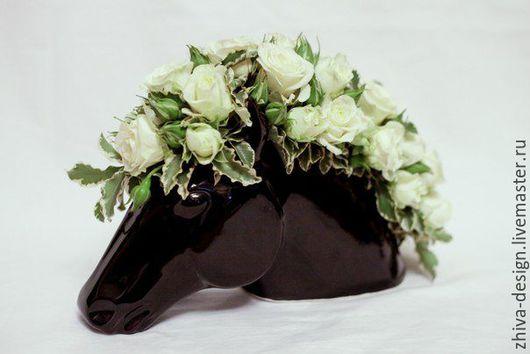 Вазы ручной работы. Ярмарка Мастеров - ручная работа. Купить Кашпо лошадь. Handmade. Черный, лошадка, ваза для цветов, подарок