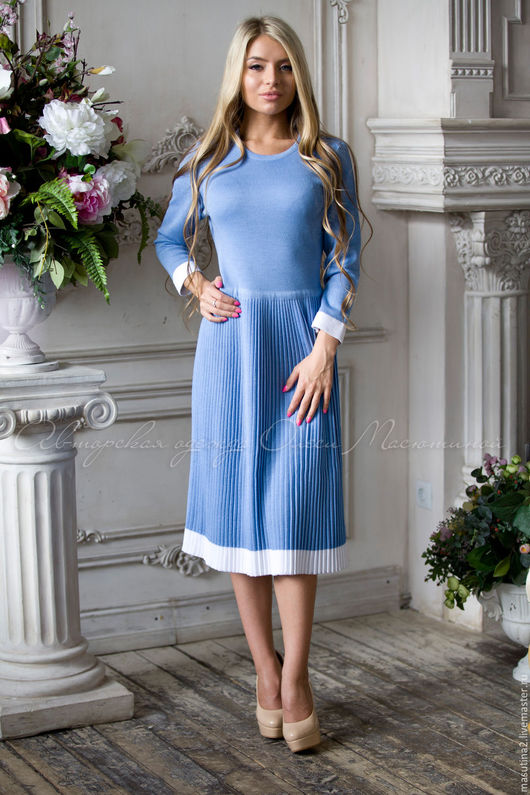 """Платья ручной работы. Ярмарка Мастеров - ручная работа. Купить Платье """"Синева небес"""". Handmade. Голубой, плиссе, полушерсть"""