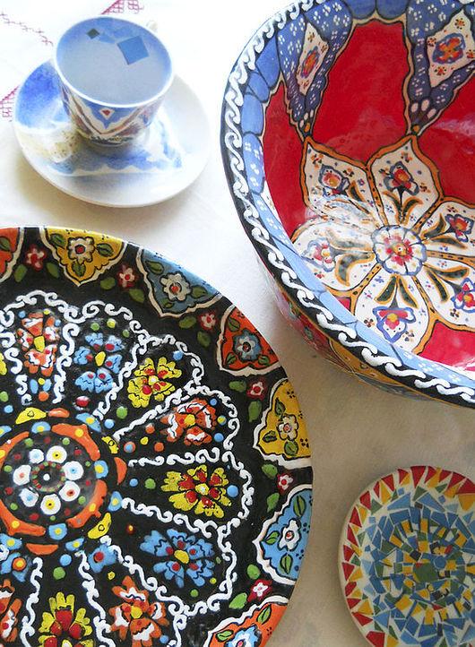 Тарелки ручной работы. Ярмарка Мастеров - ручная работа. Купить Керамика в восточном стиле. Handmade. Керамика, турецкий орнамент, салатник