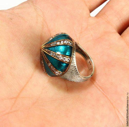 """Кольца ручной работы. Ярмарка Мастеров - ручная работа. Купить Перстень """"Мекка"""" из серебра 925 пробы и эмалью. Handmade. Бирюзовый"""
