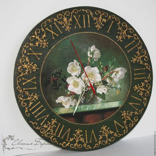 """Часы для дома ручной работы. Ярмарка Мастеров - ручная работа. Купить Часы  """"Анемоны"""" картинка любая. Handmade. Тёмно-зелёный"""