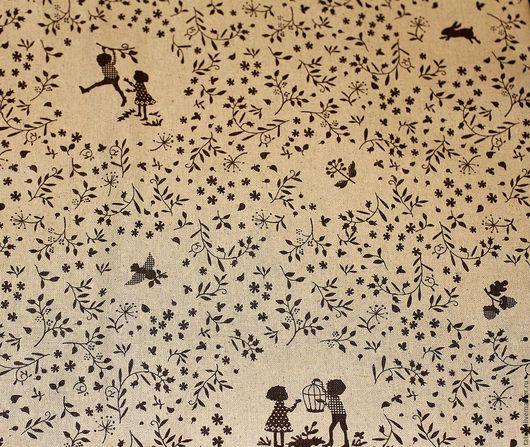 Шитье ручной работы. Ярмарка Мастеров - ручная работа. Купить Ткань лен хлопок  Дети на прогулке (винтаж, прованс,ретро,кантри)). Handmade.