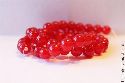 Жадеит, цвет - красный, клубничный. Бусины жадеита 8 мм. Жадеит для создания украшений. Busimir