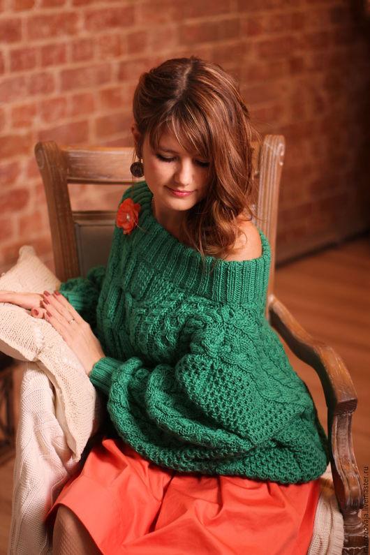 Кофты и свитера ручной работы. Ярмарка Мастеров - ручная работа. Купить Свитер в стиле Рубан. Handmade. Тёмно-зелёный
