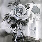 """Картины и панно ручной работы. Ярмарка Мастеров - ручная работа """"В склянке темного стекла..."""", батик, картина на шелке. Handmade."""