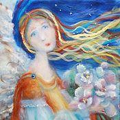 """Картины и панно ручной работы. Ярмарка Мастеров - ручная работа """"Сны о себе""""  картина из шерстяных и шелковых волокон. Handmade."""
