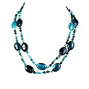 Работы для детей, handmade. Livemaster - original item Green long bead necklace from natural agate. Handmade.