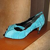 Винтаж handmade. Livemaster - original item Vintage shoes: New suede turquoise shoes Nando Muzi size 40. Handmade.