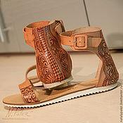 Обувь ручной работы handmade. Livemaster - original item Painting on shoes. Sandals with painted
