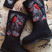 """Обувь ручной работы. Ярмарка Мастеров - ручная работа Валенки """"Снегири прилетели"""". Handmade."""