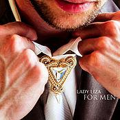 Украшения handmade. Livemaster - original item Brooch tie Edward. WHITE AND GOLD. jewelry for men. Handmade.