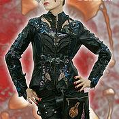 Одежда handmade. Livemaster - original item Exclusive leather jacket embroidered women`s black, leather jacket. Handmade.