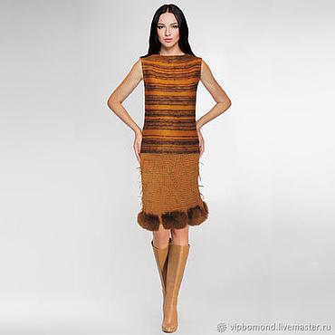 Одежда ручной работы. Ярмарка Мастеров - ручная работа Эффектная дизайнерская юбка ручной работы с натуральным мехом. Handmade.