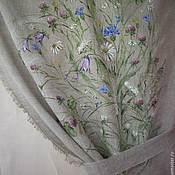 """Льняные кухонные шторы с росписью """"Полевые цветы"""""""
