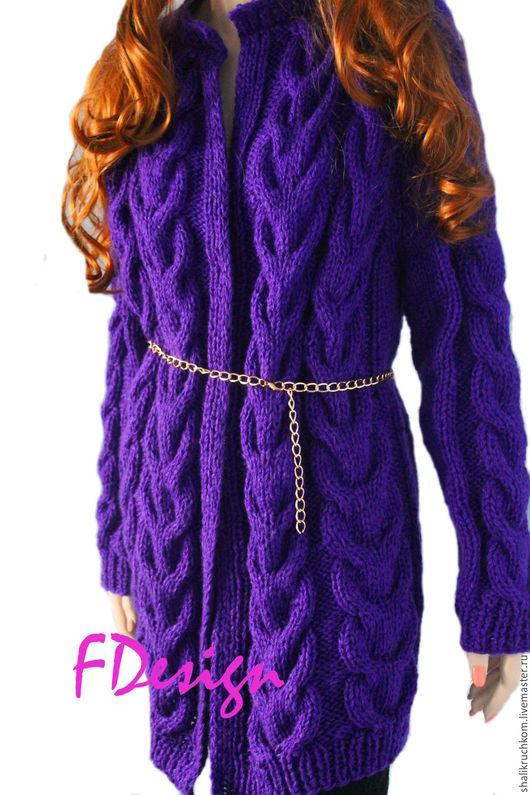 Кофты и свитера ручной работы. Ярмарка Мастеров - ручная работа. Купить Вязаный эксклюзивный женский кардиган связаный косами. Handmade.