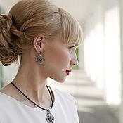 Украшения handmade. Livemaster - original item Earrings-ear-stud Enfilade with bronze insert. Handmade.