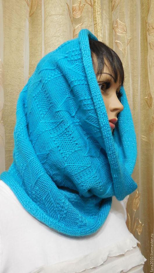 Шали, палантины ручной работы. Ярмарка Мастеров - ручная работа. Купить Бирюзовый шарф-снуд в 2 оборота из полушерсти Кубик -Рубик. Handmade.