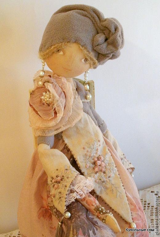 """Коллекционные куклы ручной работы. Ярмарка Мастеров - ручная работа. Купить """"Модерн""""Коллекционная кукла. Handmade. Бледно-розовый, лён, кружево"""