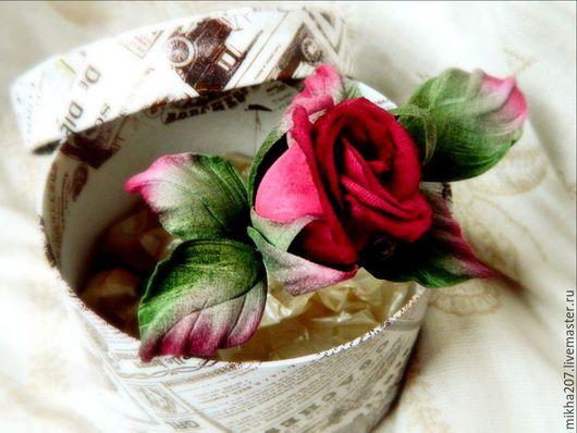 """Цветы ручной работы. Ярмарка Мастеров - ручная работа. Купить Роза """"Соло"""" из японского бархата.. Handmade. Бордовый, роза из бархата"""