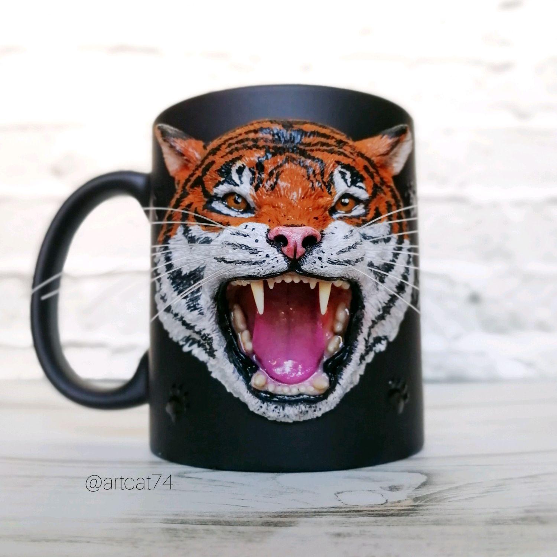 Кружка с тигром из полимерной глины, Кружки, Челябинск, Фото №1