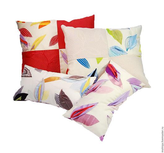 Чайный лист – двусторонние подушки с декоративной объемной аппликацией в форме листа, очень солнечный комплект (8 подушек)