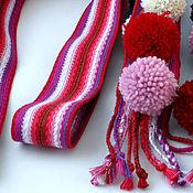 Русский стиль ручной работы. Ярмарка Мастеров - ручная работа Пояс бело-розовый с помпонами. Handmade.