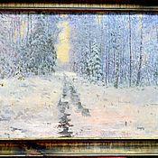 Картина Зимняя дорога  масло