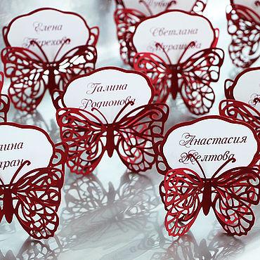 """Свадебный салон ручной работы. Ярмарка Мастеров - ручная работа """"Бабочка"""" рассадочные карточки. Handmade."""