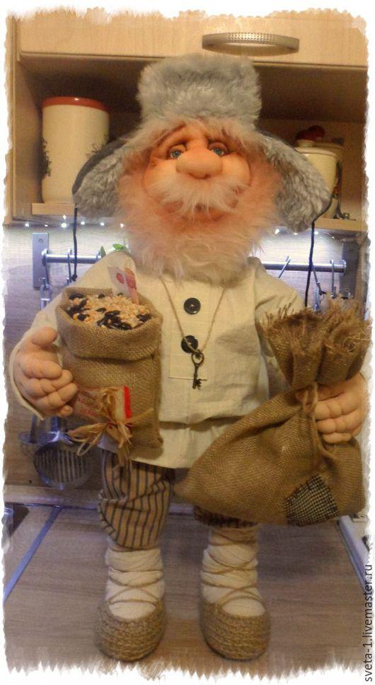 Сказочные персонажи ручной работы. Ярмарка Мастеров - ручная работа. Купить домовой. Handmade. Бежевый, интерьерная кукла, Каркасная проволока