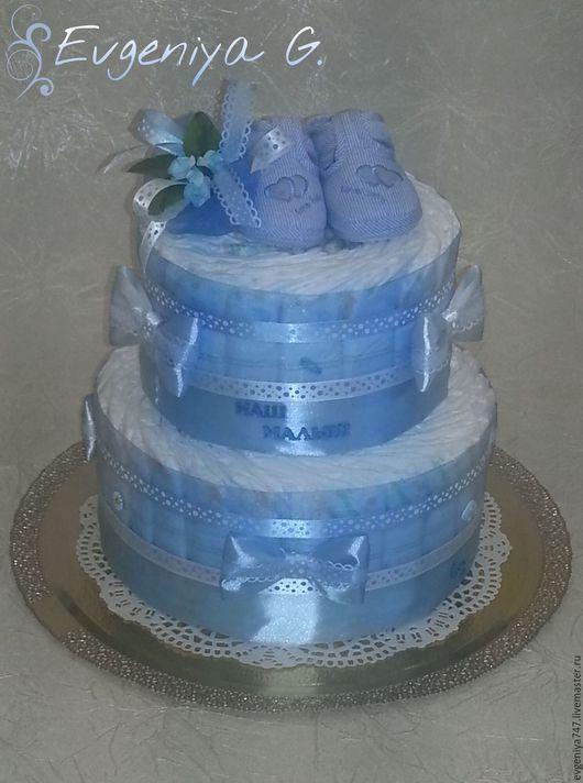 Подарки для новорожденных, ручной работы. Ярмарка Мастеров - ручная работа. Купить торт из подгузников для мальчика. Handmade. Голубой, подарок на крещение