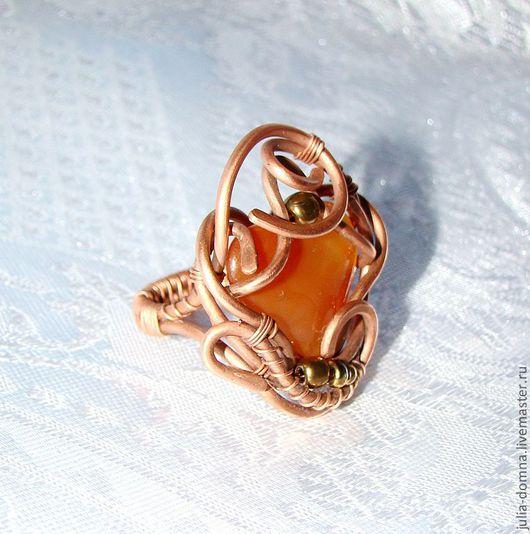 кольцо с сердоликом Кусочек Солнца авторские украшения ручной работы