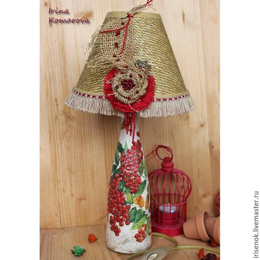 """Освещение ручной работы. Ярмарка Мастеров - ручная работа. Купить """"Рябина"""" Лампа в стиле бохо. Handmade. Ярко-красный, мешковина"""