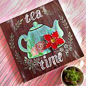 """Подарки к праздникам ручной работы. Ярмарка Мастеров - ручная работа Панно """"Время чая"""". Handmade."""